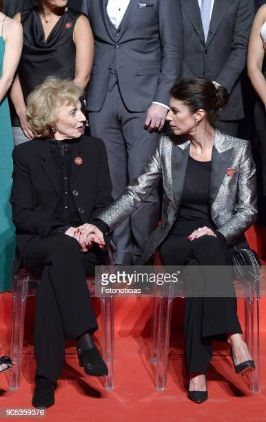 Marisa Paredes and Maribel Verdu pose for a group picture during the Goya Awards Candidates Meeting at the Real Casa de Correos on January 15 2018 in...