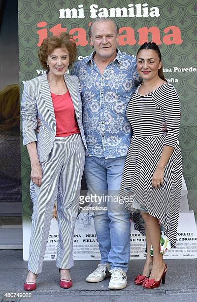 Marisa Paredes Lluis Homar and Candela Pena attend a photocall for 'Mi Familia Italiana' at Princesa Cinema on July 15 2015 in Madrid Spain
