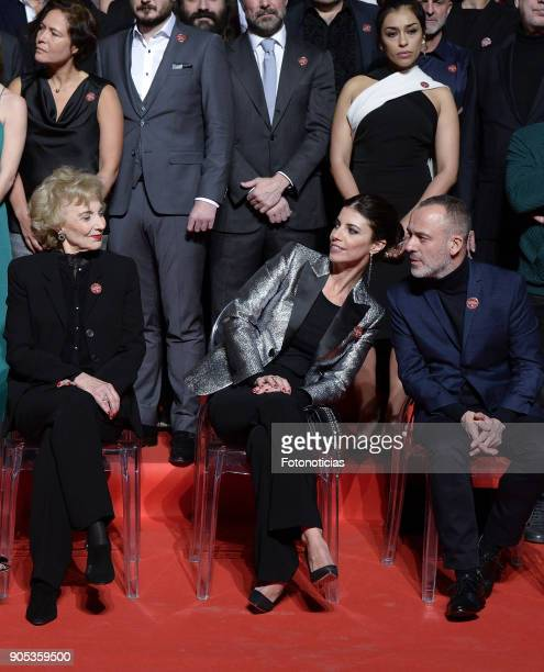 Marisa Paredes Maribel Verdu and Javier Gutierrez pose for a group picture during the Goya Awards Candidates Meeting at the Real Casa de Correos on...