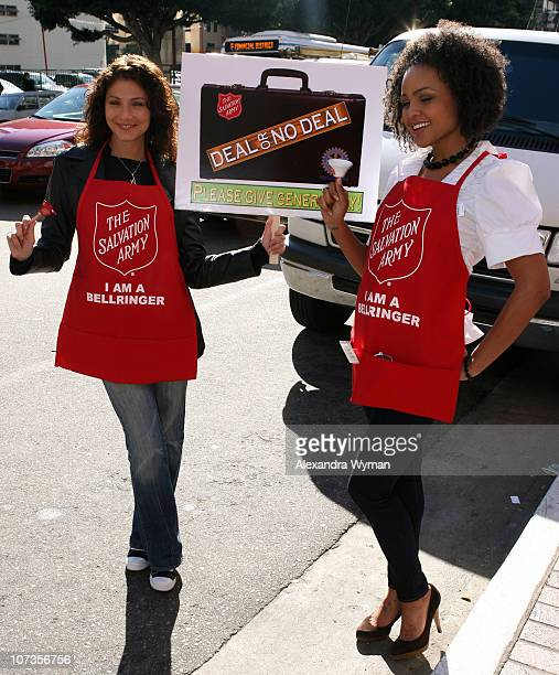 Marisa Petroro and Hayley Marie Norman during The 20th Annual Salvation Army Celebrity/Rotary Bell Ring In the Holiday Season at Ernst Young Plaza in...