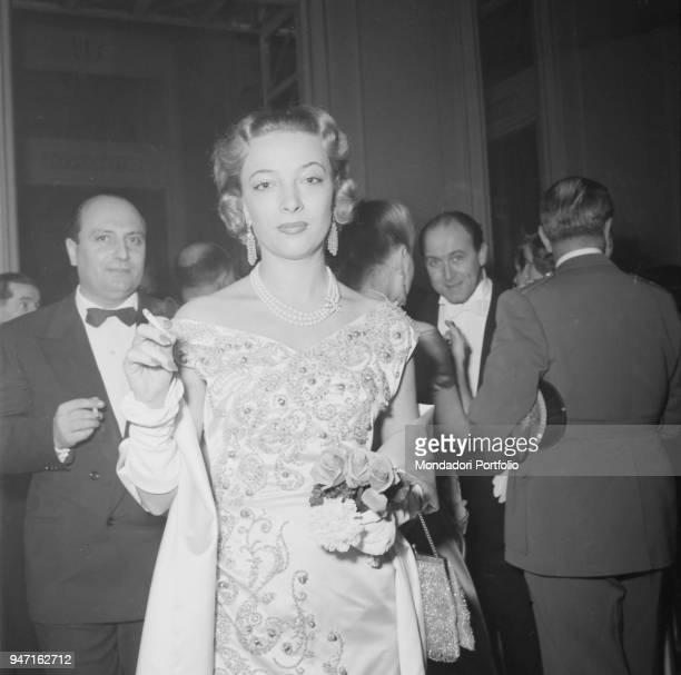Marisa Remiondi at the opening night of the opera 'La Wally' by Alfredo Catalani at La Scala Theatre Milan 7th December 1953