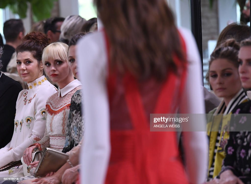 Marisa Tomei (L) and Christina Ricci (2nd L) attend the Valentino Resort 2018 runway show on May 23, 2017 in New York City. /