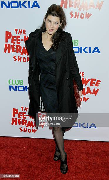 Marisa Tomei arrives at the Opening Night of 'The PeeWee Herman Show' at Club Nokia at LA Live on January 20 2010 in Los Angeles California