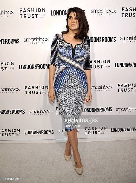 Marisa Tomei attends the British Fashion Council's LONDON Show ROOMS LA opening cocktail party at Smashbox Studios on March 12 2012 in West Hollywood...