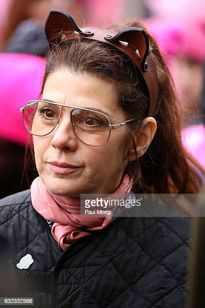 Marisa Tomei attends the rally at the Women's March on Washington on January 21 2017 in Washington DC