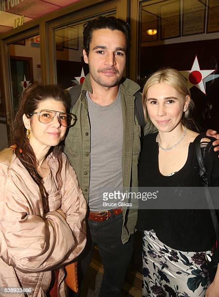 Marisa Tomei Christopher Abbott and Zosia Mamet pose at The Opening Night of MCC Theater's A Funny Thing Happened on the Way to the Gynecologic...