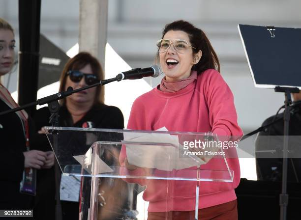 Marisa Tomei speaks onstage at 2018 Women's March Los Angeles at Pershing Square on January 20 2018 in Los Angeles California