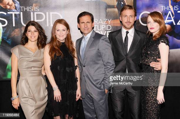 Marisa TomeiJulianne MooreSteve Carrell Ryan Gosling and Emma Stone attend the Crazy Stupid Love World Premiere at the Ziegfeld Theater on July 19...
