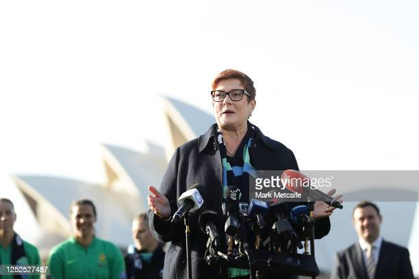 Marise Payne, Australia's foreign minister, speaks to the media during a media opportunity following the successful bid for Australia & New Zealand...