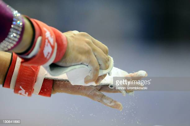 Marisela Cantu of Mexico prepares for the Women's Artistic Gymnastics Finals in Uneven Bars during Day 13 of the XVI Pan American Games at the...
