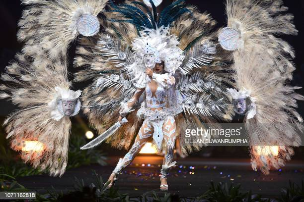 Marisela de Montecristo Miss El Salvador 2018 walks on stage during the 2018 Miss Universe national costume presentation in Chonburi province on...