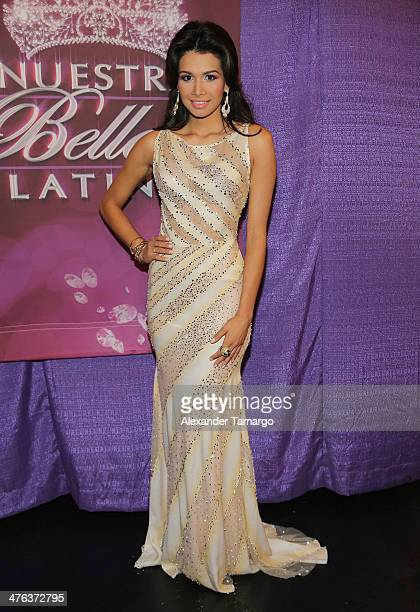 Marisela Demontecristo is seen attending the premiere show of Univision's Nuestra Belleza Latina at Univision Headquarters on March 2 2014 in Miami...