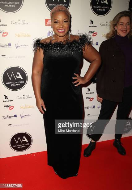 Marisha Wallace attends the WhatsOnStage Awards at Prince Of Wales Theatre on March 03 2019 in London England