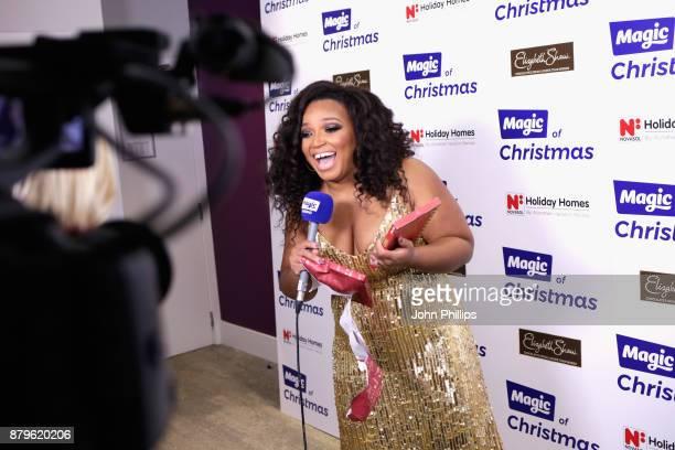 Marisha Wallace is interviewed backstage at Magic FM's Magic of Christmas concert at London Palladium on November 26 2017 in London England