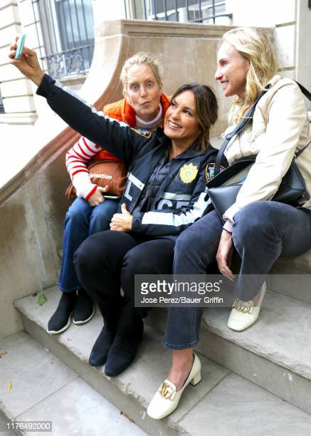 Mariska Hargitay Ali Wentworth and Tracy Pollan are seen on the film set of the 'Law and Order Special Victims Unit' in Fifth Avenue Manhattan on...
