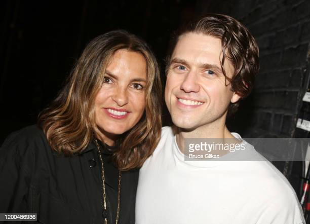 Mariska Hargitay and Aaron Tveit pose backstage at the hit musical based on the Baz Luhrmann film Moulin Rouge on Broadway at The Al Hirshfeld...