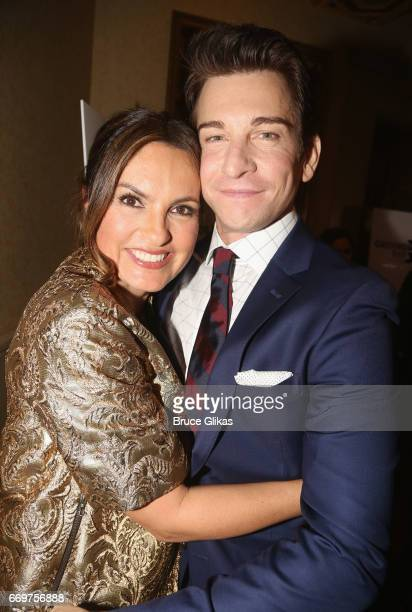 Mariska Hargitay and Andy Karl pose at the opening night after party for the musical based on the film Groundhog Day on Broadway at Gotham Hall on...