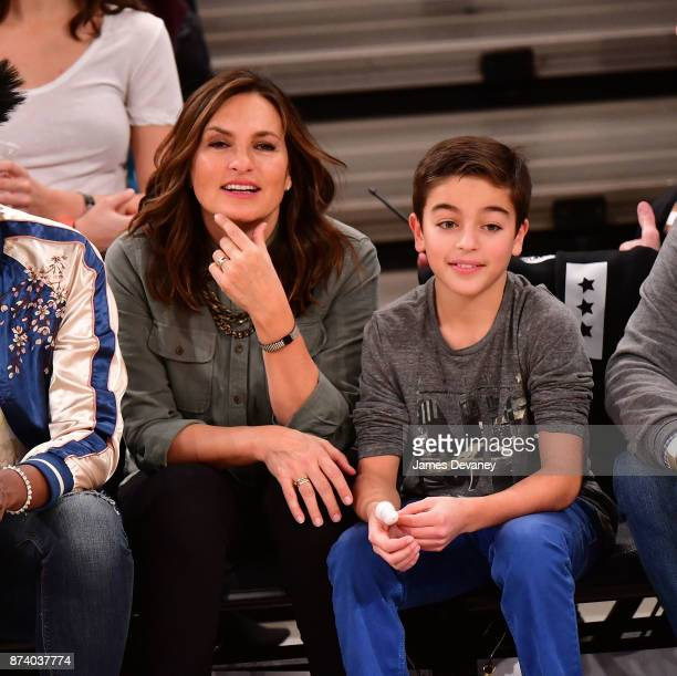 Mariska Hargitay and August Miklos Friedrich Hermann attend the Cleveland Cavaliers Vs New York Knicks game at Madison Square Garden on November 13...