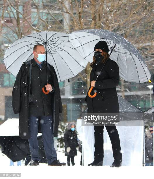 """Mariska Hargitay and Christopher Meloni are seen on the set of """"Law and Order: Organized Crime"""" on February 19, 2021 in New York City."""