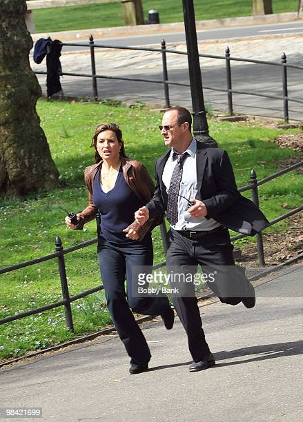 Mariska Hargitay and Christopher Meloni on location for Law Order SVU at Streets of Manhattan on April 12 2010 in New York City