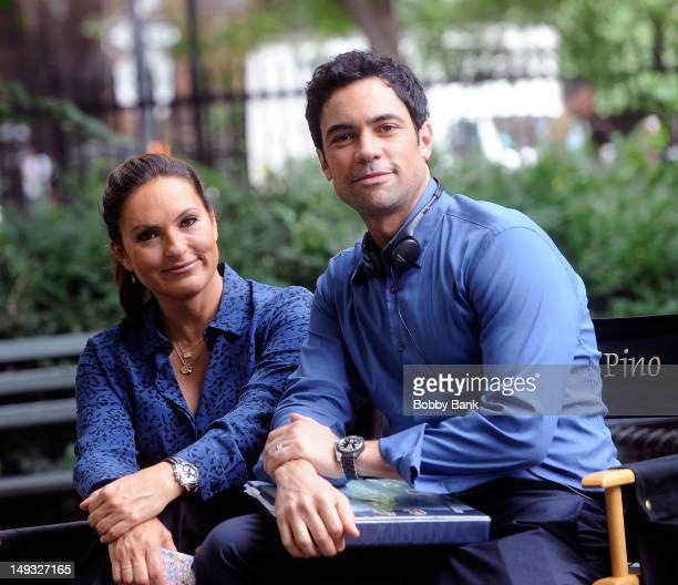 Mariska Hargitay and Danny Pino on location for Law and Order SVU filming in the Streets of Manhattan on July 26 2012 in New York City