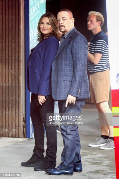 Mariska Hargitay and Ice T are seen on set of 'Law and Order Special Victims Unit' on August 06 2019 in New York City