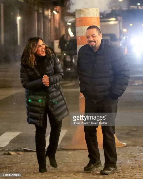 Mariska Hargitay and Ice T are seen on the film set of 'Law and Order Special Victims Unit' on December 19 2019 in New York City