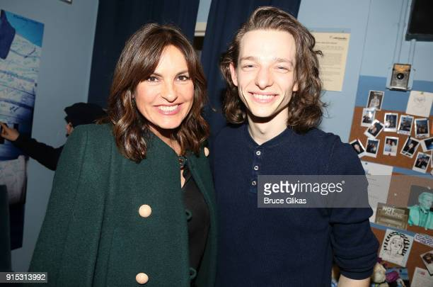 Mariska Hargitay and Mike Faist pose backstage as Taylor Trensch joins the cast of 'Dear Evan Hansen' on Broadway at The Music Box Theatre on...
