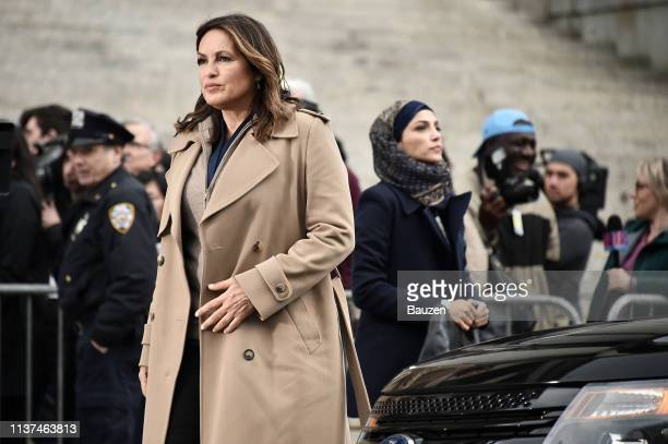 Mariska Hargitay and Nazneen Contractor are spotted on the set of Law Order SVU filming at 60 Centre Street on April 15 2019 in New York City