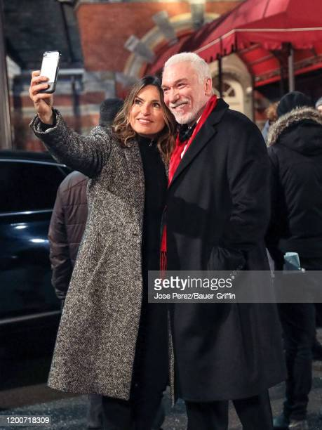Mariska Hargitay and Patrick Page are seen at the film set of the 'Law and Order Special Victims Unit' outside the 'Tavern on The Green' Restaurant...