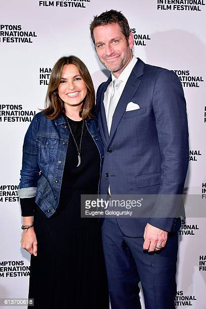 Mariska Hargitay and Peter Hermann attend the Awards Dinner at the Hamptons International Film Festival 2016 at Topping Rose on October 9 2016 in...