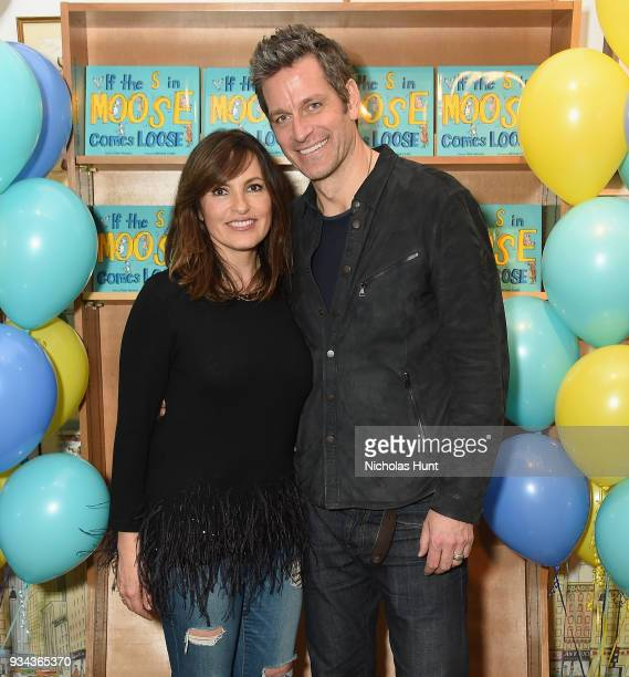 Mariska Hargitay and Peter Hermann attend the book launch party for Peter Hermann's 'If The S in Moose Comes Loose' at Books of Wonder on March 17...
