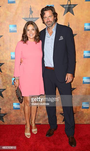 Mariska Hargitay and Peter Hermann attend the 'Hamilton' Broadway Opening Night After Party at Pier 60 on August 6, 2015 in New York City.