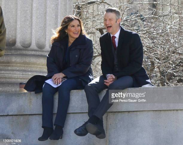 Mariska Hargitay and Peter Scanavino are seen on set of 'Law and Order Special Victims Unit' on March 06 2020 in New York City
