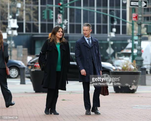 "Mariska Hargitay and Peter Scanavino are seen on the set of ""Law and Order: Special Victims Unit"" on April 16, 2021 in New York City."