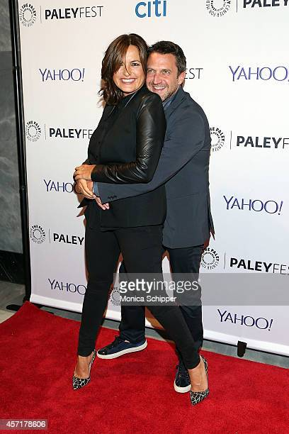 Mariska Hargitay and Raul Esparza attend 2nd Annual Paleyfest New York Presents 'Law Order SVU' at Paley Center For Media on October 13 2014 in New...