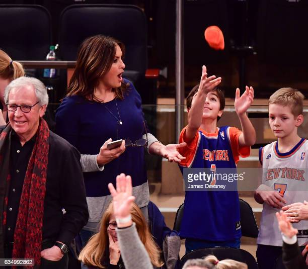 Mariska Hargitay and son August Hermann attend the San Antonio Spurs Vs New York Knicks game at Madison Square Garden on February 12 2017 in New York...