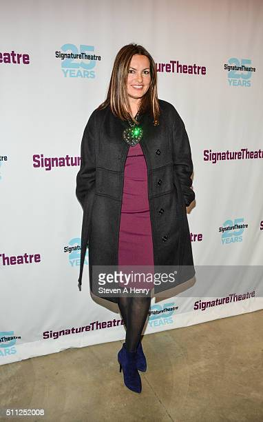 Mariska Hargitay attends the 'Old Hats' opening night at Signature Theatre Company's The Pershing Square Signature Center on February 18 2016 in New...