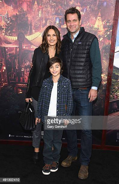 Mariska Hargitay August Miklos Friedrich Hermann and Peter Hermann attends the 'Pan' New York premiere at the Ziegfeld Theater on October 4 2015 in...