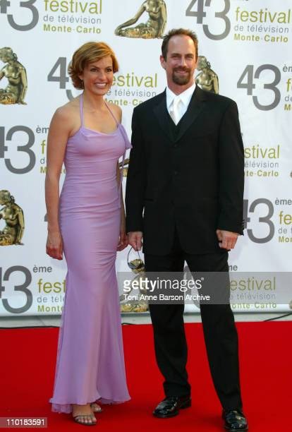 Mariska Hargitay Christopher Meloni during 2003 Monte Carlo Television Festival Closing Ceremony Gold Nymph Awards Arrivals at Grimaldi Forum in...