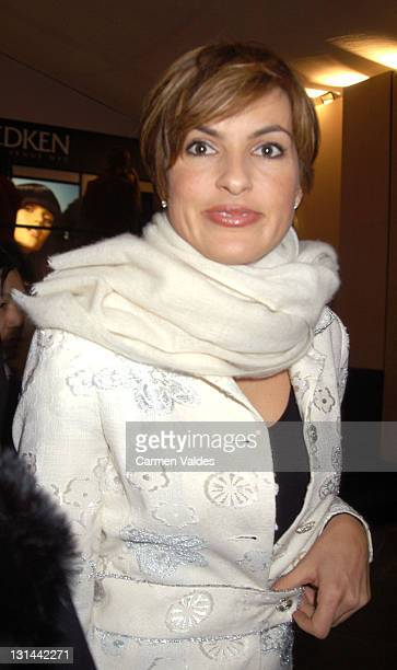 Mariska Hargitay during MercedesBenz Fashion Week Fall 2003 Collections Diesel StyleLab Front Row and Backstage at Bryant Park in New York City New...