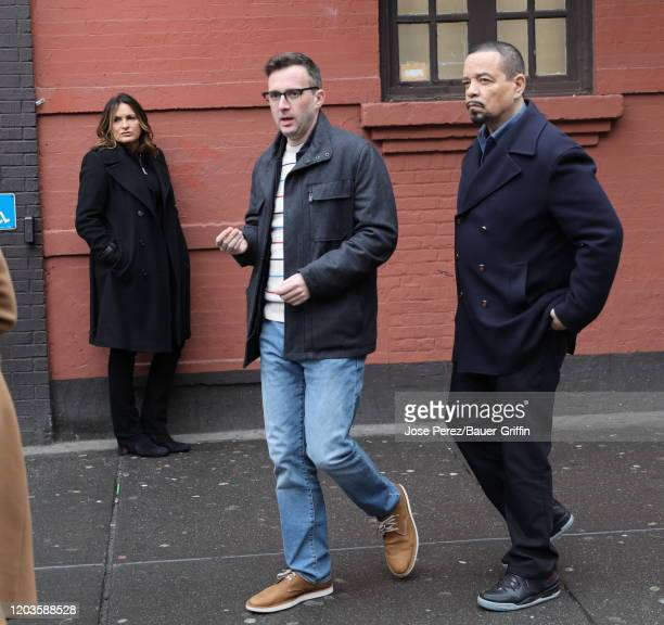 Mariska Hargitay Eddie Kaye Thomas and IceT are seen on the set of Law and Order Special Victims Unit on February 27 2020 in New York City