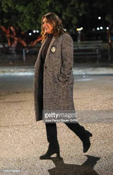 Mariska Hargitay is seen at the film set of the 'Law and Order Special Victims Unit' outside the 'Tavern on The Green' Restaurant in Central Park on...