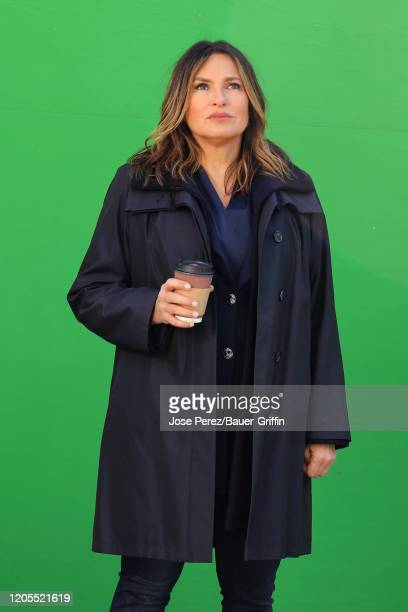 Mariska Hargitay is seen on set of 'Law and Order Special Victims Unit' on March 06 2020 in New York City