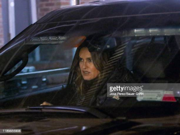 Mariska Hargitay is seen on the film set of 'Law and Order Special Victims Unit' on December 19 2019 in New York City