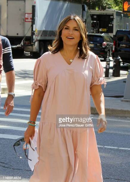 Mariska Hargitay is seen on the set of Law and Order Special Victims Unit on September 03 2019 in New York City