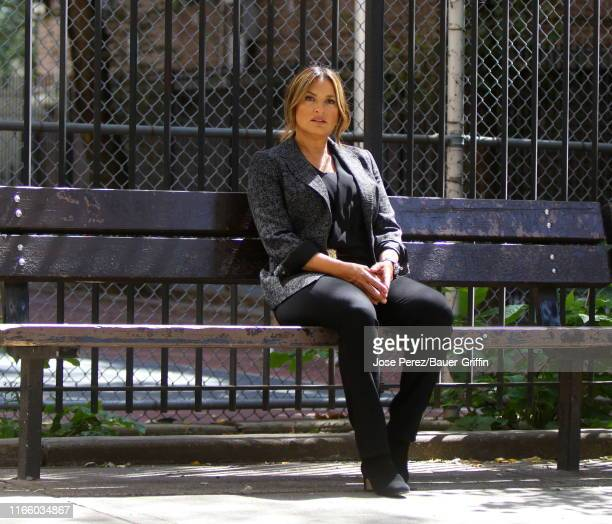 Mariska Hargitay is seen on the set of Law and Order Special Victims Unit on September 04 2019 in New York City