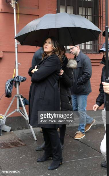 Mariska Hargitay is seen on the set of Law and Order Special Victims Unit on February 26 2020 in New York City