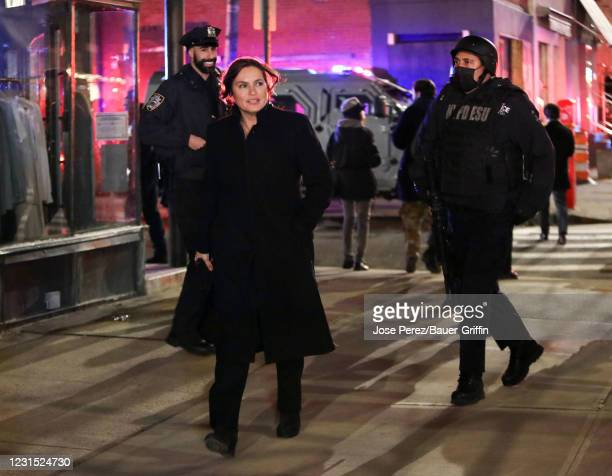 Mariska Hargitay is seen on the set of 'Law and Order: Special Victims Unit' on March 04, 2021 in New York City.