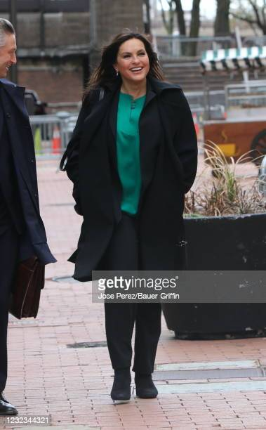 "Mariska Hargitay is seen on the set of ""Law and Order: Special Victims Unit"" on April 16, 2021 in New York City."